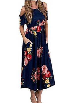 bf43722862 Shele Women Boho Off The Shoulder Floral Print Elastic High Waist Maxi Long  Dress Modest Dresses