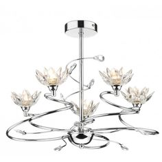 Dar Lighting Poppy 5 Light Spiral Ceiling Fitting in Polished Chrome