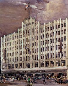 Art Deco facade of Myer Melbourne Art Deco Fashion, Continents, Melbourne, Facade, New York Skyline, Places To Visit, Australia, 1930s, History