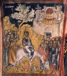 Entry info Jeruzalem - Theofanis the Kretian, Monastery of St. Religious Icons, Religious Art, Russian Icons, Byzantine Icons, Palm Sunday, Jesus Lives, Old Frames, Orthodox Icons, Sacred Art