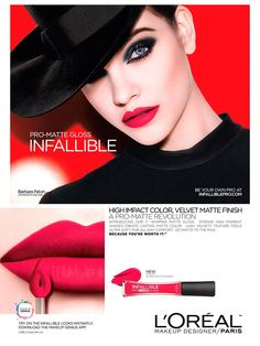 Hungarian stunner Barbara Palvin is a glossy girl for L'Oréal's Infallible Pro-Matte Gloss ad campaign Glossier Girl, 00's Makeup, Tissue Engineering, Beauty Companies, Beauty Ad, Velvet Matte, Barbara Palvin, Try On, Loreal Paris