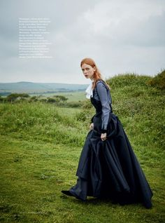 Channeling Victorian style, Dani Witt wears Brunello Cucinelli silk blouse with Leon Max satin skirt