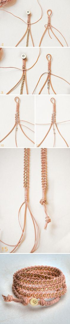 A few steps for a different style of wrap bracelet; see full tutorial for more details.