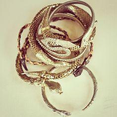 Bona Drag's ever-growing collection of snake bangles