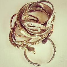 Bona Drag's ever-growing collection of snake bangles