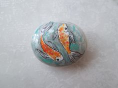 Koi Fish original illustration on stone painted by HappyVillage