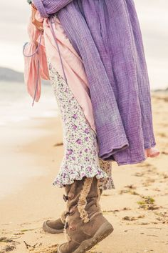 Spring Gypsy Flannie Bloomers, $99 AUD & Earth Gypsy Japanese Doll Swing Coat, $160 AUD.  Cozy and sweet on the beach.