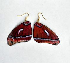 Check out Handcrafted Butterfly Moth Wing Earrings, Jewelry, Hypoallergenic, Sterling Silver or 14k Gold, on dougwalpusartstudio