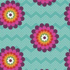 http://www.plushaddict.co.uk/windham-fabrics-mosaica-chevron-floral-turquoise.html Windham Fabrics - Mosaica Chevron Floral Turquoise - cotton fabric