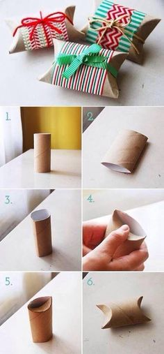Gift package made from cardboard paper towel roll.