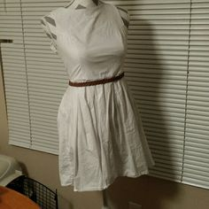 Cute White dress with belt! Like simple? The belt adds a nice touch and it's an easy cute outfit! baileyblue Dresses Mini