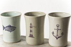 Summer nautical mugs by Hadas Shallom https://www.etsy.com/listing/192923783/ready-to-ship-anchor-mug-lighthouse-mug?ref=shop_home_active_6 Published by BeUniqueandStylish on Etsy