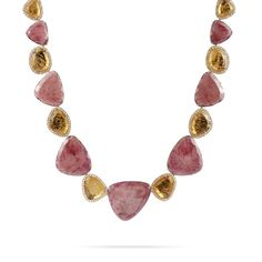 Hand engraved 18k yellow gold necklace. This jewel mounts cushion cut pink tourmalines, imperial topazes and rosecut diamonds