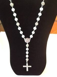 """Lovely White Fashion Necklace w/ Cross and White & Crystal Balls (31"""")"""