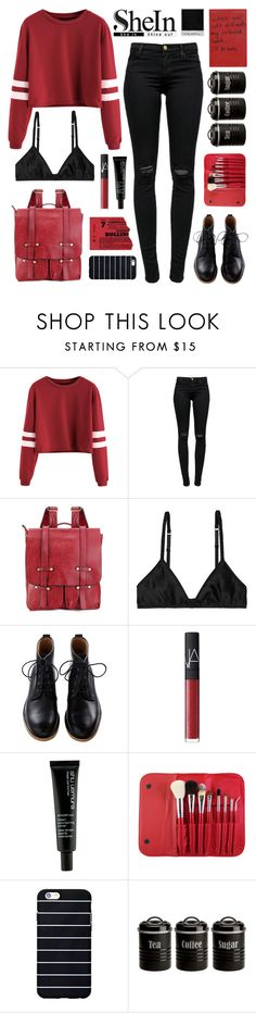 """Burgundy Varsity Crop T-shirt - with SHEIN"" by thismay ❤ liked on Polyvore featuring J Brand, Monki, NARS Cosmetics, shu uemura, Morphe, Typhoon and shein"