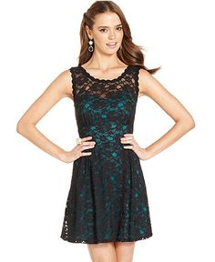 BCX Juniors Dress, Sleeveless Lace A-Line - Juniors Dresses - Macy's