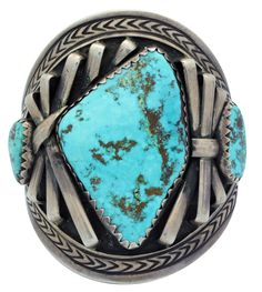 One of the best things about these incredible old pieces of handmade Native American jewelry is the stones. You can almost always count on them having some impressive pieces of American rocks. This circa 1950s Navajo cuff has three pieces of Arizona's legendary Morenci Turquoise. | eBay!
