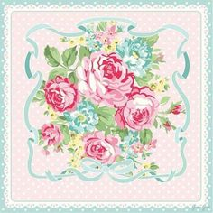 Paper - Fond - Scrap - Roses entourées de ruban bleu sur fond pois roses