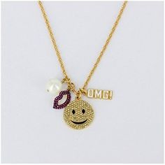 Womens Emoticon Big Smile And Pinky Lip Long Necklace With Extender,Gold-Plated