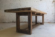 Good Ideas Image for Tables made from Reclaimed Wood : Fascinating Reclaimed Wood Table And Traditional White Brick Wall