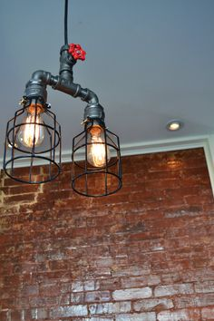 Hanging Double Pendant Industrial Pipe Light Swag Version! [ Edison Bulb Included ]
