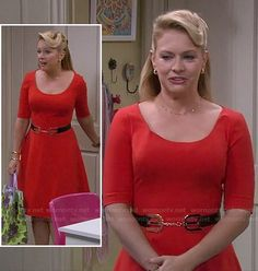 Melissa's red elbow sleeve flared dress on Melissa and Joey.  Outfit Details: http://wornontv.net/17665/ #MelissaandJoey #ABCFamily