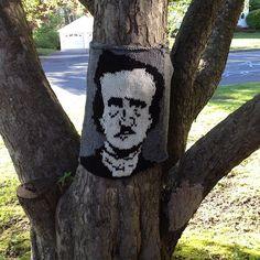 Mr. Edgar Allen Poe knit onto a tree. by jcstearns, via Flickr