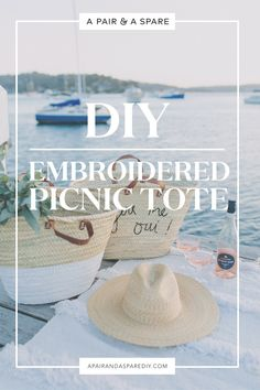 diy-embroidered-picnic-tote Sign Up Page, Simple Sandals, French Chic, Get Outside, Beach Themes, Picnic, Diy, Craft, Bags