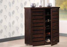 Adalwin Modern And Contemporary Dark Brown Wooden 2 Door Entryway Shoe  Storage Cabinet
