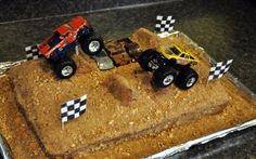 Boy, n. Noise with dirt on it. had his birthday this weekend. I almost made a construction cake but the Monster Trucks birthda. Beautiful Cakes, Amazing Cakes, Monster Truck Birthday Cake, Monster Trucks, Truck Cakes, Birthday Cake Decorating, Cakes For Boys, Occasion Cakes, Cake Pans