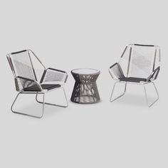 Clean lines and a modern vibe set the tone of the Threshold Carag 3-Piece Sling Rope Chat Set. This trendy patio set features 1 accent table and 2 arm chairs made of powder-coated steel frames with tempered glass on the tabletop. Weather resistant and rust resistant. 1 year limited warranty.
