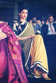 It is every designer's dream to dress up a lady like Deepika Padukone. Here are the beautiful Images of Deepika Padukone in Saree and Known her athletic body and effortless style. Indian Attire, Indian Wear, Indian Dresses, Indian Outfits, Indian Clothes, Collection Eid, Color Style, Yellow Saree, Freida Pinto