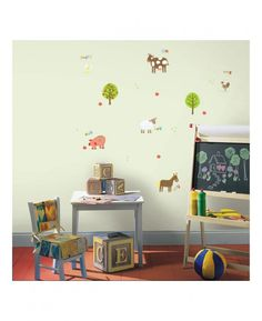 These adorable Farm Animals Wall Stickers are a great way to create a feature with minimal fuss and effort. The fun design features cute animals such as a pig, horse and sheep, each making their relevant noise and surrounded by colourful apple trees - create the perfect Farmyard themed room!