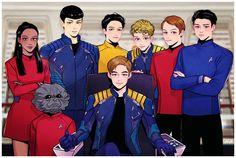 Leonard H. McCoy, James T. Kirk, Montgomery Scott, Nyota Uhura, Spock, Pavel Chekov, Hikaru Sulu, Keenser || Star Trek AOS