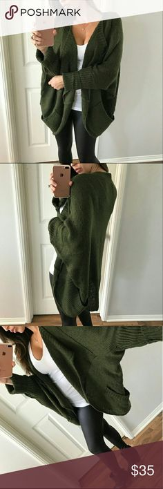 BOUTIQUE cardigan This is the softest thing ever! I wore it once for a dinner and it's like new. Over sized with dolman sleeves and super cozy. Olive green in color. Has pockets. And an open front. Originally purchased from Allie @mrsalliexo photo credit to her for first 3 photos. This is a must have! 100% acrylic. Boutique Sweaters Cardigans