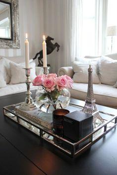 Beautiful Mirrored Tray With Chrome Rails, Elegant Square Vanity Mirror Tray With Side Bars, Makes A Great Bling Gift 16 Inch - Houses interior designs Tray Styling, Coffee Table Styling, Decorating Coffee Tables, Coffee Table Design, Coffee Table Tray Decor, Coffee Tray, Candle Tray, Candle Sticks, Glass Tray