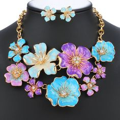 Blossoming Flower Rhinestone Fake Collar Necklace Earrings - BLUE