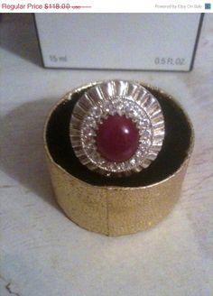 ON SALE Sterling Silver Ruby and White Topaz Ring by OurBoudoir, $105.00