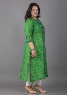 Green Silk Cotton Two-Tone Double Ikat Kurta with Sequin Detailing Salwar Neck Designs, Churidar Designs, Kurta Neck Design, Kurta Designs Women, Blouse Designs, Stylish Dress Designs, Designs For Dresses, Kurti Embroidery Design, Indian Designer Suits