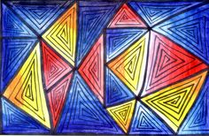 Students will create abstract art using shapes like squares, triangles and rectangles to fill the entire page. Then using watercolor they will color their designs using value.