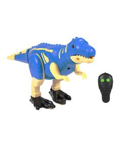 This durable remote control dinosaur is easy for little hands to maneuver and operate! Boasting a realistic paint job, front and backward movement along with eyes that light up and dinosaur sounds, it's the perfect choice for any petite paleontologist who wants to create their own prehistoric world.