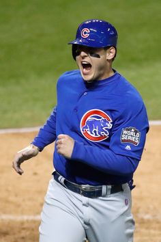 ae6d33bd7 Anthony Rizzo  44 of the Chicago Cubs celebrates scoring a run on an RBI  single