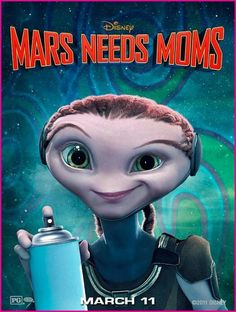 Mars Needs Moms , starring Seth Green, Joan Cusack, Dan Fogler, Elisabeth Harnois. A young boy named Milo gains a deeper appreciation for his mom after Martians come to Earth to take her away. Animated Movie Posters, Disney Animated Movies, Disney Movies, Computer Animation, Disney Animation, Animation Movies, Mars Needs Moms, Date Night Movies, Seth Green