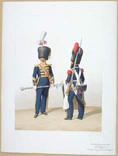 1828. Infanterie de Ligne. Tambour-Major, Caporal-Sapeur (45è Régiment)