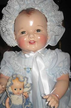 """GORGEOUS HUGE VINTAGE 27"""" 1930's HAPPY BABY COMPOSITION DOLL"""