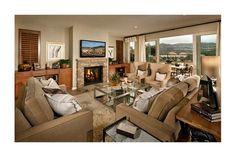 A wall of windows provides a view of California hills. Standard Pacific Homes. Plan 3 - Roycroft. The Westcott at La Costa Oaks Community. Carlsbad, CA.