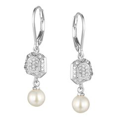 Facet Collection; Sterling Silver Pearl And Micro Pave Leverback Earrings