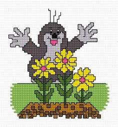 Small Cross Stitch Patterns A small mole Disney Cross Stitch Patterns, Knitting Paterns, Small Cross Stitch, Mole, Perler Beads, Cross Stitching, Pixel Art, Fairy Tales, Free Pattern
