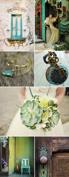 One of the few things that naturally gets more and more beautiful with age is a rustic patina finish.  The shades of blues and greens all running into one another make for a lovely feel of old-world charm.  This patina look can be incorporated into a wedding in so many pretty and unexpected ways. Enjoy!