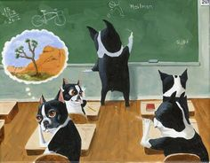 Love his stuff!  Boston Terrier School House Dog Art by rubenacker on Etsy…
